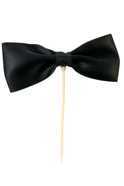 Black Satin Bow Cake Topper Deco Stick