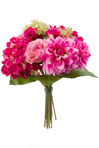 Hydrangeas Roses and Dahlias Bouquet Fuchsia