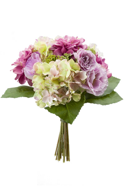 Hydrangeas Roses and Dahlias Bouquet Lavender/Green