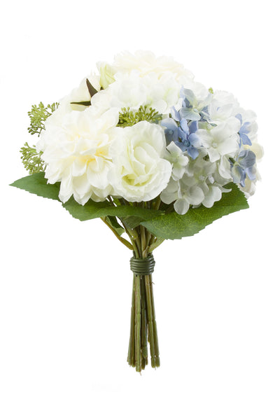 Hydrangeas Roses and Dahlias Bouquet White/Blue