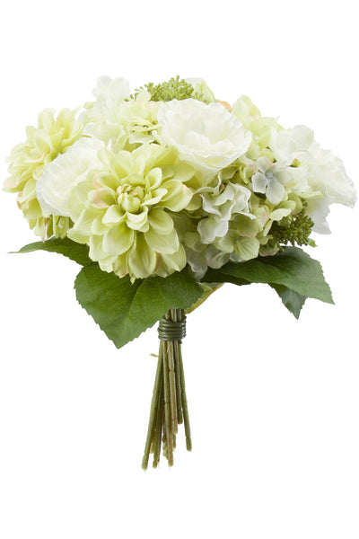 Hydrangeas Roses and Dahlias Bouquet White/Green