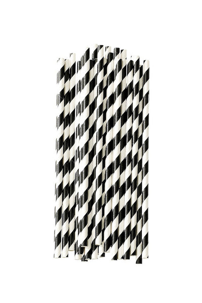 Paper Straws Striped Black Set of 25