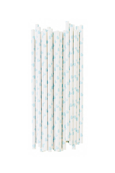 Paper Straws Hearts Baby Blue Set of 25
