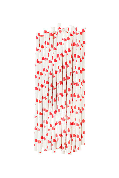 Paper Straws Heart Red Set of 25