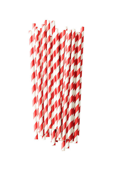 Paper Straws Striped Red Set of 25