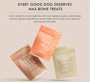 Max-bone: Premium Dog Treats - Choose from 3 Tasty Flavors - 5-oz. Pack - Heart-Healthy Dog Food - Oven-baked, Human-Grade, Sustainable Ingredients - Crunchy Dog Snacks for All Breeds - Non-GMO