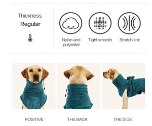 EVEL Dog Bathrobe Towel Gown Ultra Light Luxury Soft Super Absorbent Quick Drying EasyWear with Adjustable Strap Belt Comfortable Bath Robe Dog Pajama