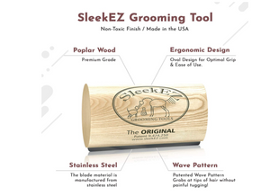 SleekEZ Original Deshedding Grooming Tool for Dogs, Cats & Horses - Undercoat Brush for Short & Long Hair - Painlessly Remove 95% of Loose Hair, Fur & Dirt
