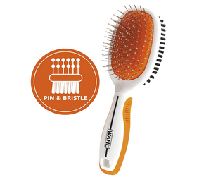 WAHL Premium Pet Double Sided Pin Bristle Brush with Patented Stacked Pin Design to Remove Loose Hair Plus Stimulate The Skin While Creating a Soft Coat Shine