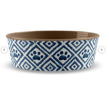 Load image into Gallery viewer, Indigo Jojo Paw Ikat Melamine Pet Bowl