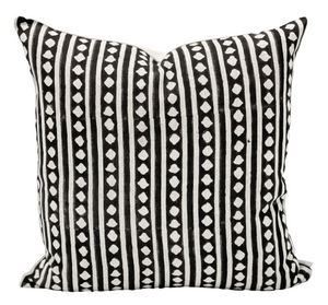 Geometric Print on Natural Linen Pillow Cover - Krinto.com