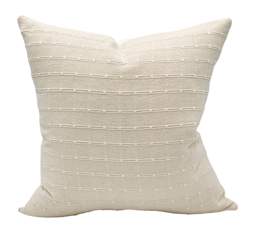 Off white Cream Striped Woven Pillow Cover - Krinto.com