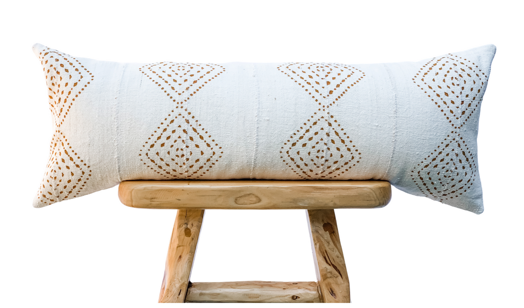 Cream White with Rust Pattern Mudcloth Pillow Cover - Krinto.com