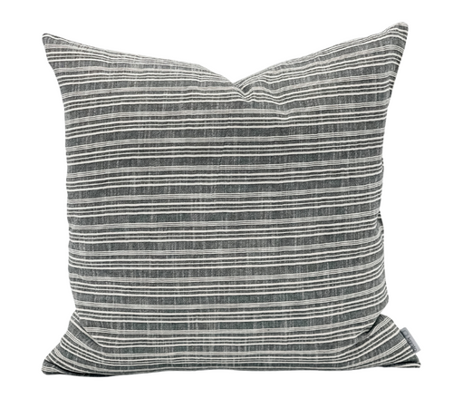 Black and Cream Striped Woven Pillow Cover - Krinto.com