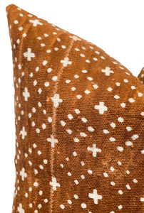 Rust Brown With Small Crosses Mudcloth Pillow Cover - Krinto.com