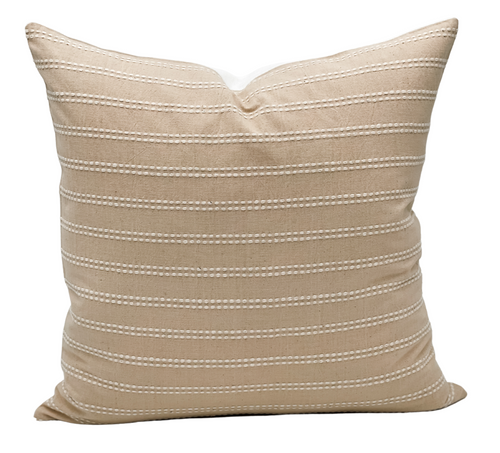 Beige Cream Striped Woven Pillow Cover - Krinto.com