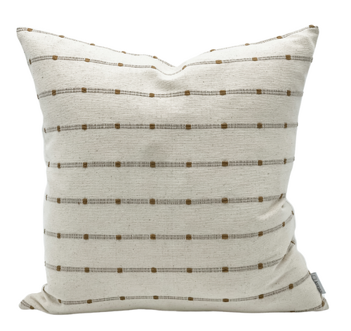 White with Beige Textured Stripes Pillow Cover - Krinto.com