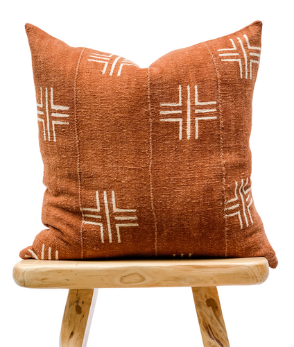 Mudcloth Cream Crosses on Rust-Brown Pillow Cover - Krinto.com