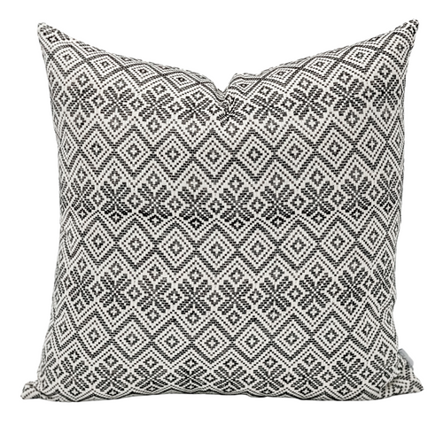 Off white and Black Woven Pillow Cover - Krinto.com