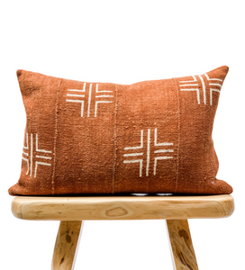 Mudcloth White Crosses on Rust brown Lumbar Pillow Cover - Krinto.com
