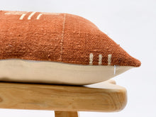 Load image into Gallery viewer, Mudcloth White Crosses on Rust brown Lumbar Pillow Cover - Krinto.com