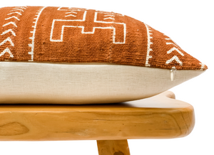 Rust Mudcloth with White Abstract Lumbar Pillow Cover - Krinto.com