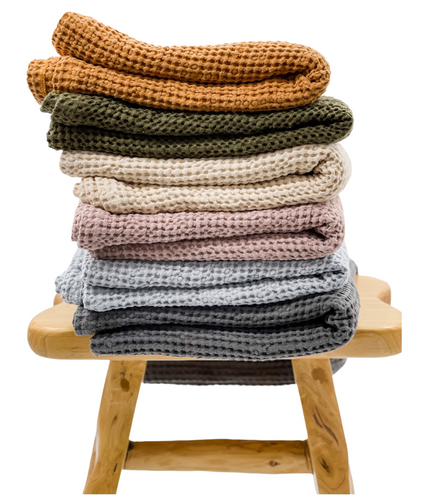 Oversized Linen Cotton Waffle Throw Blanket - Krinto.com