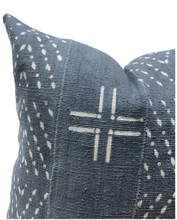 Load image into Gallery viewer, Mudcloth Blue Grey with White Abstract Pillow Cover - Krinto.com