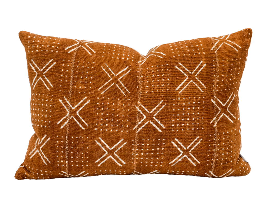 Rust Mudcloth with Cream Crosses Pillow Cover - Krinto.com