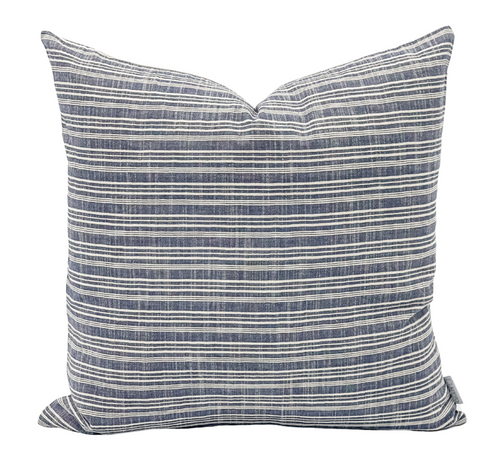 Blue and Cream Striped Woven Pillow Cover - Krinto.com