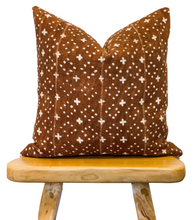 Load image into Gallery viewer, Rust Brown With Small Crosses Mudcloth Pillow Cover - Krinto.com