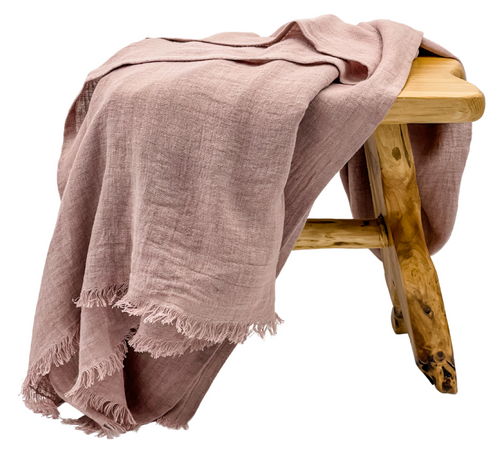 Oversized Linen Throw in Dusty Pink - Krinto.com