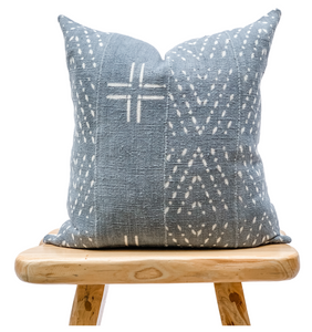 Mudcloth Blue Grey with White Abstract Pillow Cover - Krinto.com