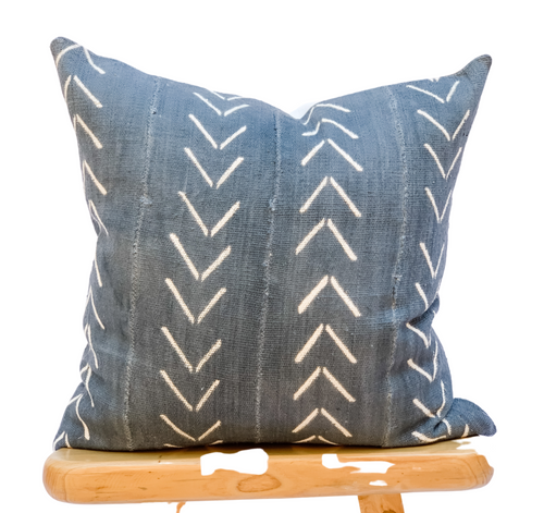 Mudcloth Blue Grey With White Chevrons Pillow Cover - Krinto.com