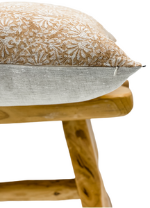 Tan Rust Floral Print on Natural Linen Pillow Cover - Krinto.com