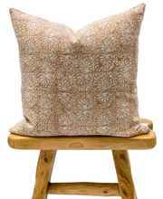 Load image into Gallery viewer, Tan Rust Floral Print on Natural Linen Pillow Cover - Krinto.com