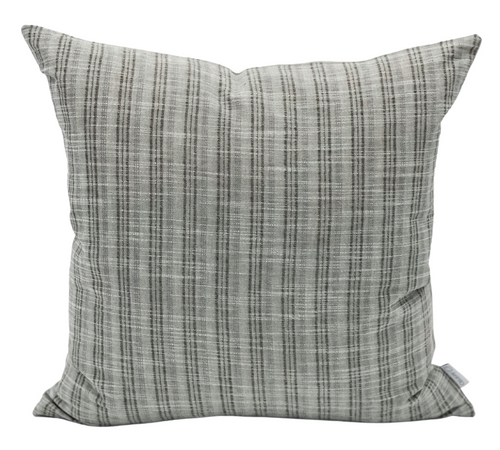 Grey Green with Black Stripes Woven Pillow Cover - Krinto.com