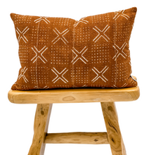 Load image into Gallery viewer, Rust Mudcloth with Cream Crosses Pillow Cover - Krinto.com