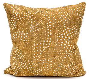 Mudcloth White Dots on Mustard Pillow Cover - Krinto.com