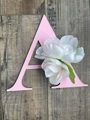 "Open image in slideshow, 8"" Spring Wooden Hanging Flower Letter for Girl's Room"