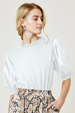 Load image into Gallery viewer, Ruffle Puff Sleeve Top (white)