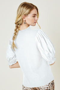 Ruffle Puff Sleeve Top (white)