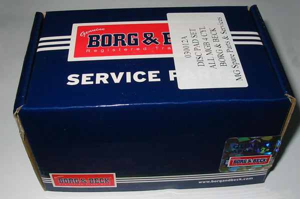 MGB BRAKE DISC PAD SET BORG&BECK 4 CYLINDER - INCLUDES DELIVERY