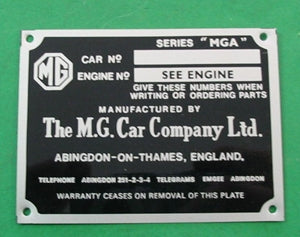 PLATE CHASSIS MGA UK - INCLUDES DELIVERY