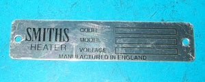 DECAL SMITHS HEATER PLATE MGA MGB - INCLUDES DELIVERY