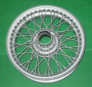 "AUSTIN HEALEY SPRITE MG MIDGET SILVER / PAINTED WIRE WHEEL 13"" x 4"" 60 SPOKE - INCLUDES DELIVERY TO MAINLAND EAST COAST METRO. See description."