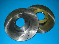 PAIR - MGB BRAKE DISK 4 CYLINDER CROSS DRILLED AND SLOTTED - INCLUDES DELIVERY