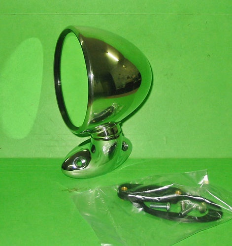 PAIR - UNIVERSAL RIGHT & LEFT HAND STAINLESS STEEL DOMED BULLET MIRROR - INCLUDES DELIVERY