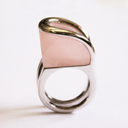 Austrian Crystal Rose Quartz Ring