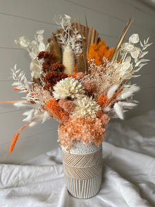 Large Floral Arrangement Orange - Boho Raw Vase